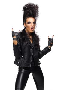 Rock musician in leather clothing isolated